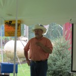 Monte Bordner welcoming guest to the Michigan Angus Field Day 2014